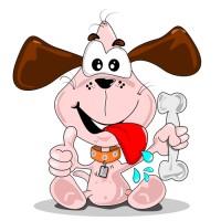 Kreslený pes drží chutnou kost