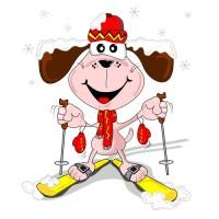 Kreslený pes na lyžích
