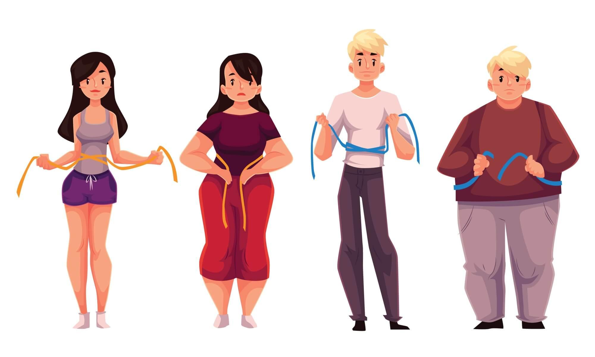 Ženy a muži si měří břicho