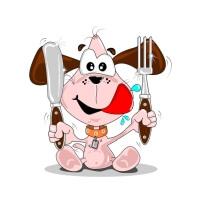 Pes drží nůž a vidličku